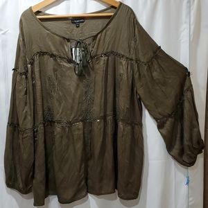 NWT Lane Bryant long sleeve bohemian style blouse